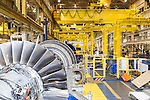 July 6, 2016. Greenville, South Carolina. <br />  The fan assembly is installed on a GE gas turbine. <br />  At the General Electric Gas Turbine factory, engineers  design, produce, test and repair gas turbines for generating electricity. These turbines weigh more than 900,000 pounds and can create internal combustion temperatures up to 2,900 degrees F. Depending on the model, one of the GE turbines can produce enough electricity for half a million American households.
