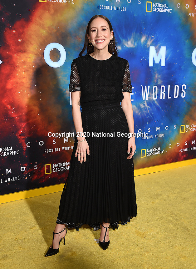 """LOS ANGELES - FEBRUARY 26: Sasha Sagan attends National Geographic's 2020 Los Angeles premiere of """"Cosmos: Possible Worlds"""" at Royce Hall on February 26, 2020 in Los Angeles, California. Cosmos: Possible Worlds premieres Monday, March 9 at 8/7c on National Geographic. (Photo by Frank Micelotta/National Geographic/PictureGroup)"""