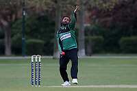 Theeban Tavarasa in bowling action for Ilford during Upminster CC (batting) vs Ilford CC, Hamro Foundation Essex League Cricket at Upminster Park on 8th May 2021