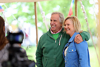 """Friday 23 May 2014, Hay on Wye UK<br /> Pictured: Henry Winkler (L) aka """"The Fonz"""" from tv series Happy Day at the festival.<br /> Re: The Telegraph Hay Festival, Hay on Wye, Powys, Wales UK."""
