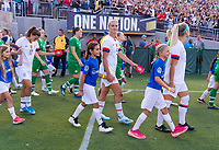 PASADENA, CA - AUGUST 4: Lindsey Horan #9 walks out on the field during a game between Ireland and USWNT at Rose Bowl on August 3, 2019 in Pasadena, California.