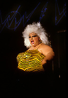 Transvestite Actress and singer DIVINE first appearance in Montreal, at the POW WOW Club (Now Unity), May 6, 1987<br /> <br /> -Photo  : Pierre Roussel - Agence Quebec Presse