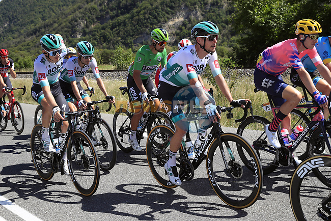 The peloton including  Lukas Postlberger (AUT) and Green Jersey Peter Sagan (SVK) Bora-Hansgrohe take it easy during Stage 5 of Tour de France 2020, running 183km from Gap to Privas, France. 2nd September 2020.<br /> Picture: Bora-Hansgrohe/BettiniPhoto | Cyclefile<br /> All photos usage must carry mandatory copyright credit (© Cyclefile | Bora-Hansgrohe/BettiniPhoto
