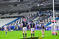 26th March 2021, Stade de France, Saint-Denis, France; Guinness 6-Nations international rugby, France versus Scotland;  Romain Ntamack (Fra) kicks the penalty for points