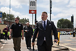 © Joel Goodman - 07973 332324 . 22/07/2017 . Rochdale , UK . PAUL GOLDING . Britain First hold a demonstration in Rochdale , opposed by anti-fascist groups . Britain First say they are highlighting concerns about child sexual exploitation in the town . Photo credit : Joel Goodman