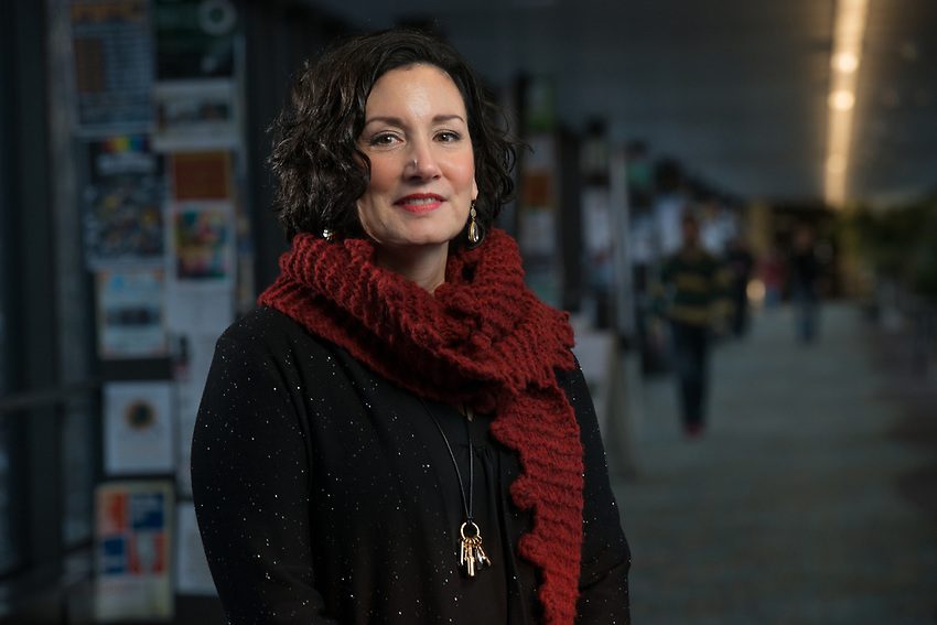 Interim Vice Provost for Student Success, Professor Claudia Lampman photographed in the UAA spine.