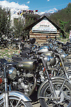 Royal Enfield motor cycles in Vashisht in the Kullu Valley, Himachal Pradesh, India.