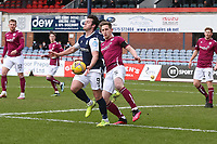 13th March 2021; Dens Park, Dundee, Scotland; Scottish Championship Football, Dundee FC versus Arbroath; Danny Mullen of Dundee challenges for the ball with Thomas O'Brien of Arbroath