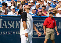 Marcos Baghdatis reacts to a missed point during the Legg Mason Tennis Classic at the William H.G. FitzGerald Tennis Center in Washington, DC.  David Nalbandian defeated Marcos Baghdatis in straight sets in the finals Sunday afternoon.