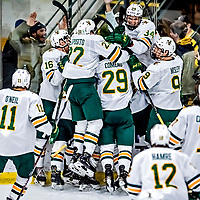 26 January 2019: The University of Vermont Catamounts celebrate Forward Max Kaufman's game-winning goal in overtime against the Merrimack College Warriors at Gutterson Fieldhouse in Burlington, Vermont. The Catamounts defeated the Warriors 4-3 in overtime to take both games of their weekend America East conference series. Mandatory Credit: Ed Wolfstein Photo *** RAW (NEF) Image File Available ***