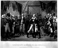 Washington's Farewell to His Officers.  1783. Copy of engraving by Phillibrown after Alonzo Chappel.   (George Washington Bicentennial Commission)<br /> Exact Date Shot Unknown<br /> NARA FILE #:  148-GW-179<br /> WAR & CONFLICT #:  54