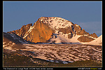 The Diamond on Longs Peak (14,259 feet) receives the first rays of a winter sunrise. Johns leads photo tours in Rocky Mountain National Park, year-round.