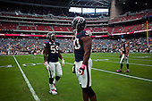 Houston, Texas<br /> October 2, 2011<br /> <br /> Houston Texas players on the field to warm up before the game.<br /> <br /> The Houston Texans defeated the Pittsburgh Steelers at the Reliant Stadium 17 to 10.