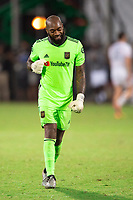 LAKE BUENA VISTA, FL - JULY 27: Kenneth Vermeer #1 of LAFC celebrates a goal during a game between Seattle Sounders FC and Los Angeles FC at ESPN Wide World of Sports on July 27, 2020 in Lake Buena Vista, Florida.