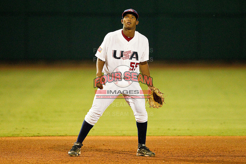 Third baseman Addison Russell #55 of the USA 18u National Team on defense against the USA Baseball Collegiate National Team at the USA Baseball National Training Center on July 2, 2011 in Cary, North Carolina.  The College National Team defeated the 18u team 8-1.  Brian Westerholt / Four Seam Images