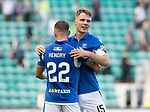 Hibs v St Johnstone….24.08.19      Easter Road     SPFL <br />Jason Kerr celebrates with Callum Hendry at full time<br />Picture by Graeme Hart. <br />Copyright Perthshire Picture Agency<br />Tel: 01738 623350  Mobile: 07990 594431