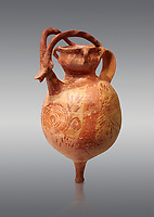 The Minoan decorated terracotta jug with elaborate goats head and horns, Palaikastro,  1500-1450 BC; Heraklion Archaeological  Museum, grey background