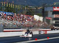 Feb 12, 2017; Pomona, CA, USA; NHRA top fuel driver Steve Torrence during the Winternationals at Auto Club Raceway at Pomona. Mandatory Credit: Mark J. Rebilas-USA TODAY Sports