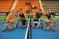 21-12-13,Netherlands, Rotterdam,  Topsportcentrum, Tennis Masters, Final wheelchair doubles ltr: Michaela Spaanstra and Mieke van  Chastelet vs Sharon Walraven and Marjolein Buis (NED)<br /> Photo: Henk Koster