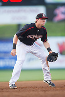 Kannapolis Intimidators third baseman Trey Michalczewski (27) on defense against the Hickory Crawdads at CMC-Northeast Stadium on May 19, 2014 in Kannapolis, North Carolina.  The Crawdads defeated the Intimidators 10-6.  (Brian Westerholt/Four Seam Images)
