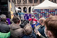 Dutch National Champion Mathieu Van der Poel (NED/Alpecin-Fenix)  at the race start in Leuven <br /> <br /> 60th De Brabantse Pijl 2020 - La Flèche Brabançonne (1.Pro)<br /> 1 day race from Leuven to Overijse (BEL/197km)<br /> <br /> ©kramon