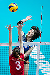 Wing spiker Mami Uchiseto (R) of Japan spikes the ball during the FIVB Volleyball World Grand Prix - Hong Kong 2017 match between Japan and Russia on 23 July 2017, in Hong Kong, China. Photo by Yu Chun Christopher Wong / Power Sport Images