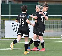 Megane Lerinckx (13) of Eendracht Aalst and Stephanie Van Gils (27) of Eendracht Aalst  congratulate Justine Blave (22) of Eendracht Aalst  for her goal during a female soccer game between  Racing Genk Ladies and Eendracht Aalst on the 5 th matchday of play off 2 in the 2020 - 2021 season of Belgian Scooore Womens Super League , friday 7 th of May 2021  in Genk , Belgium . PHOTO SPORTPIX.BE | SPP | JILL DELSAUX