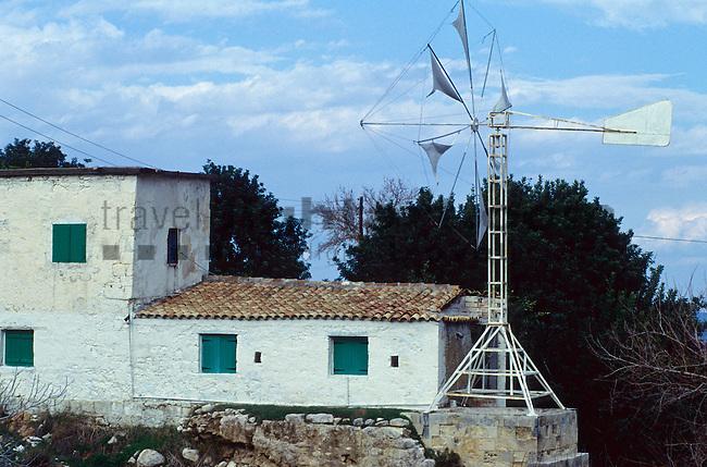 Windrad, Wasserpumpe, Wind-wheel, water pump, house, near Polis, Cyprus, Zypern,