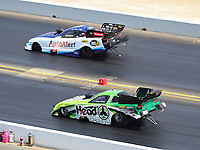 Jul 29, 2018; Sonoma, CA, USA; NHRA funny car driver Jonnie Lindberg (near) races alongside Bob Tasca III during the Sonoma Nationals at Sonoma Raceway. Mandatory Credit: Mark J. Rebilas-USA TODAY Sports