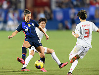 FRISCO, TX - MARCH 11: Carli Lloyd #10 of the United States attempts to gain control  of a loose ball with Moeka Minami #5 of Japan behind her during a game between Japan and USWNT at Toyota Stadium on March 11, 2020 in Frisco, Texas.