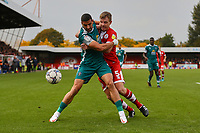 Omar Bugiel of Sutton United and Tony Craig of Crawley Town during Crawley Town vs Sutton United, Sky Bet EFL League 2 Football at The People's Pension Stadium on 16th October 2021