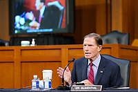 United States Senator Richard Blumenthal (Democrat of Connecticut), speaks before the Senate Judiciary Committee during the confirmation hearing for Supreme Court nominee Amy Coney Barrett, Thursday, Oct. 15, 2020, on Capitol Hill in Washington.<br /> Credit: Susan Walsh / Pool via CNP /MdeiaPunch