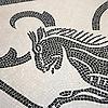 Custom Horse art mosaic tile rug in Botticino and Nero Marquina