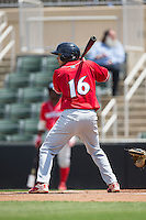 Emmanuel Marrero (16) of the Lakewood BlueClaws at bat against the Kannapolis Intimidators at Kannapolis Intimidators Stadium on May 8, 2016 in Kannapolis, North Carolina.  The Intimidators defeated the BlueClaws 3-2.  (Brian Westerholt/Four Seam Images)