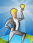 Illustrative image of businessman holding light bulb representing idea