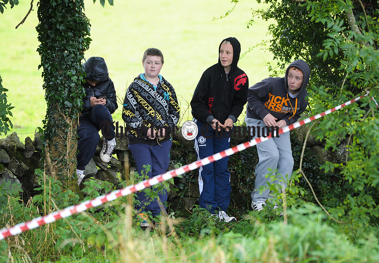 Youngsters watch all the action during Stage 3 of the Clare Stages Rally at Ruan. Photograph by John Kelly.