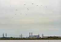 D-Day Flypast over Kent, the Dakotas that carried the first heroes of D-Day to France fly again to mark the 75th anniversary of the monumental invasion. 30 Douglas C-47 Skytrains (Dakotas) in flight over the river medway, Kent on their way to France on 5 June 2019. Photo by Liam McAvoy.