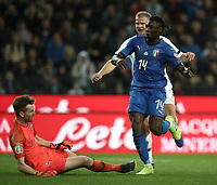 Football: Euro 2020 Group J qualifying football match Italy vs Finland at the Friuli Stadium in Udine on march  23, 2019<br /> Italy's Moise Kean (r) celebrates after scoring during the Euro 2020 qualifying football match between Italy and Finland at the Friuli Stadium in Udine, on march 23, 019<br /> UPDATE IMAGES PRESS/Isabella Bonotto
