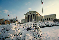 US Supreme Court with snow. Washington, DC. Washington DC USA.