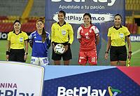 BOGOTA - COLOMBIA, 22-07-2021: Vanessa Ceballos, arbitra durante partido entre Millonarios F. C. y el Independiente Santa Fe de la Fase de Grupos de la fecha 3 por la Liga Femenina BetPlay DIMAYOR 2021 jugado en el estadio Nemesio Camacho El Campin en la ciudad de Bogota. / Vanessa Ceballos, referee during a match between Millonarios F. C. and Independiente Santa Fe of the Group Phase the 3rd date for the Women's League BetPlay DIMAYOR 2021 played at the Nemesio Camacho El Campin stadium in Bogota city. / Photos: VizzorImage / Luis Ramirez / Staff.