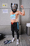 Feb. 27, 2011 - Tokyo, Japan - A man dressed in a wrestling costume takes part in the Tokyo Marathon. (Photo by Daiju Kitamura/AFLO SPORT)