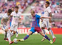 29th August 2021; Nou Camp, Barcelona, Spain; La Liga football league, FC Barcelona versus Getafe; Frenkie De Jong of FC Barcelona challenged by Maksimovic of Getafe