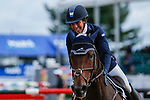 October 17, 2021: Dani Sussman (USA), aboard Jos Bravio, reacts after competing during the Stadium Jumping Final at the 3* level during the Maryland Five-Star at the Fair Hill Special Event Zone in Fair Hill, Maryland on October 17, 2021. Jon Durr/Eclipse Sportswire/CSM
