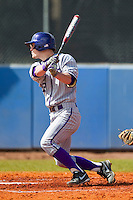 Sean Wilson (22) of the High Point Panthers follows through on his swing against the Presbyterian Blue Hose at the Presbyterian College Baseball Complex on March 3, 2013 in Clinton, South Carolina.  The Blue Hose defeated the Panthers 4-1.  (Brian Westerholt/Four Seam Images)