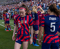 EAST HARTFORD, CT - JULY 5: Rose Lavelle #16 of the USWNT huddles with the team during a game between Mexico and USWNT at Rentschler Field on July 5, 2021 in East Hartford, Connecticut.