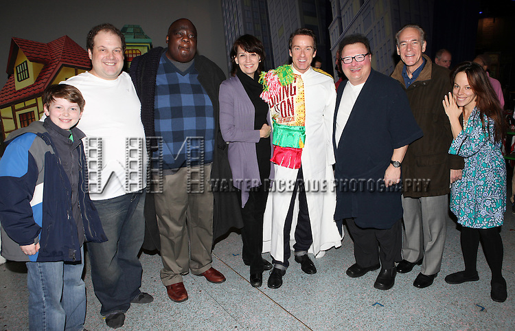 Timothy J. Alex  with Mitchell Sink, Jordan Gelber, Michael Mandell, Beth Leavel, Wayne Knight, Mark Jacoby & Leslie Kritzer attending the Broadway Opening Night Gypsy Robe Ceremony celebrating Timothy J. Alex in 'Elf The Musical' at the Al Hirschfeld Theatre in New York City on 11/18/2012