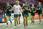 Berlin, Germany, February 01: Players of HTC Uhlenhorst Muehlheim warm up before the 1. Bundesliga Damen Hallensaison 2014/15 final hockey match between Duesseldorfer HC and HTC Uhlenhorst Muehlheim on February 1, 2015 at the Final Four tournament at Max-Schmeling-Halle in Berlin, Germany. (Photo by Dirk Markgraf / www.265-images.com) *** Local caption *** Dinah Grote #9 of HTC Uhlenhorst Muehlheim, Melanie Terber #22 of HTC Uhlenhorst Muehlheim