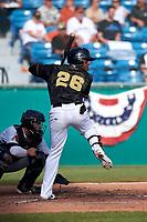 San Jose Giants shortstop Manuel Gerardo (26) at bat in front of catcher Tim Susnara (6) during a California League game against the Visalia Rawhide on April 13, 2019 at San Jose Municipal Stadium in San Jose, California. Visalia defeated San Jose 4-2. (Zachary Lucy/Four Seam Images)