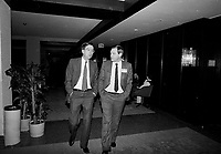 January 1987 File Photo - Montreal, Quebec, CANADA - Liberal Party of Quebec's leader and Quebec Premier Robert Bourassa (L) and Paul Gobeil (R) during the Liberal convention at Queen Elizabeth-Hotel January 24-25, 1987 -