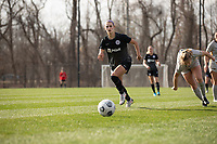 LOUISVILLE, KY - MARCH 13: Emily Fox #11 of Racing Louisville FC chases the ball up the field during a game between West Virginia University and Racing Louisville FC at Thurman Hutchins Park on March 13, 2021 in Louisville, Kentucky.